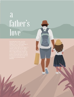 Father and daughter's love illustration