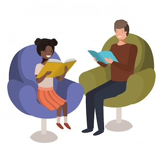 Father and daughter sitting on sofa with book avatar character