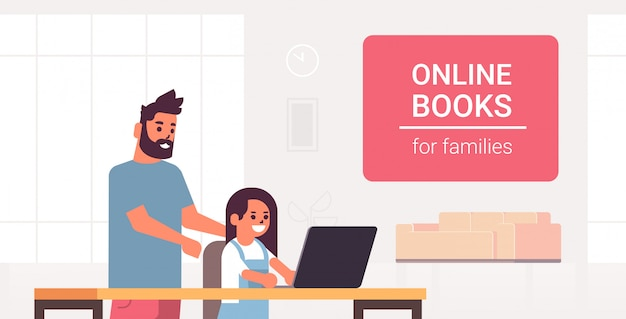 Father and daughter using laptop reading online books for family e-learning man helping his child to do homework modern living room interior
