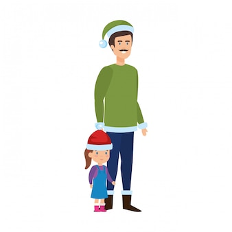 Father and daughter with christmas clothes