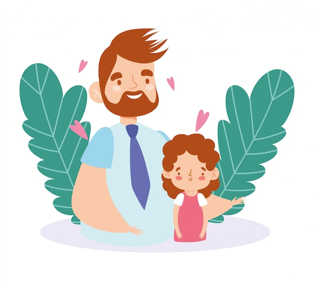 Father and daughter with leaves and hearts   design