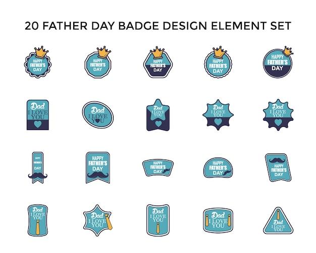Father day badge icon logo design set