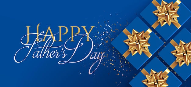 Father day banner or flyer design template with top view realistic blue gift boxes with golden bows on blue background with happy fathers day typographical composition vector illustration