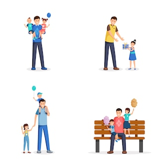 Father day flat vector illustrations set. young men, single dads spend time with little children