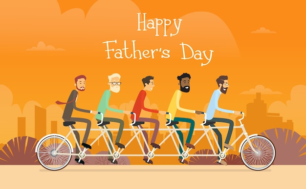 Father day holiday, man group generation ride tandem bicycle
