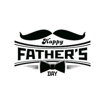 Father day icon with mustaches and necktie, happy dad holiday vector greeting card. fathers day or daddy family celebration congratulation emblem with gentleman mustaches