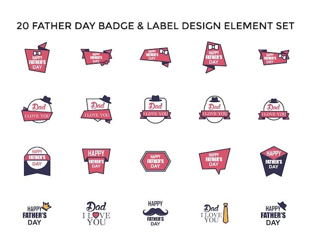 Father day sticker icon logo design set