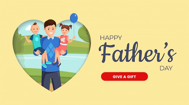 Father day web banner vector template. family holiday social media notification concept with flat illustration. internet store application, online gift shop landing page, webpage layout concept