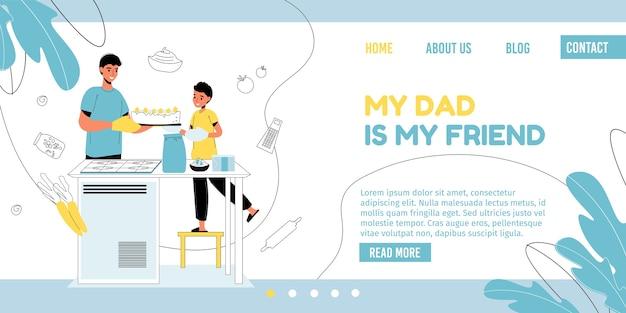 День отца, времяпрепровождение на выходных. папа сын ребенок вместе выпекает домашний сладкий десертный торт или пирог.