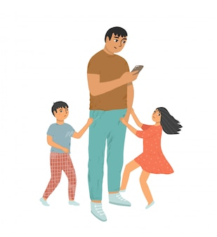 Father does not pay attention to his son and daughter. a busy parent looks at the phone, his children pulls his hand, draws attention to himself. the children is upset. internet addiction concept.