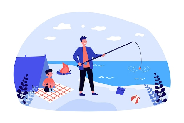 Father fishing on beach with his little son. flat vector illustration.  young man and boy spending time in tent on shore, making bonfire. childhood, nature, fatherhood, travel, hike, tourism concept
