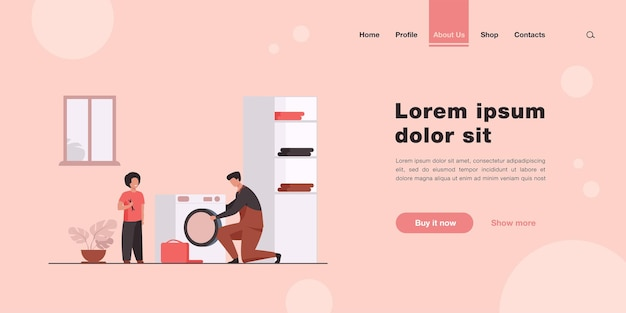 Father fixing washing machine and child helping him landing page in flat style