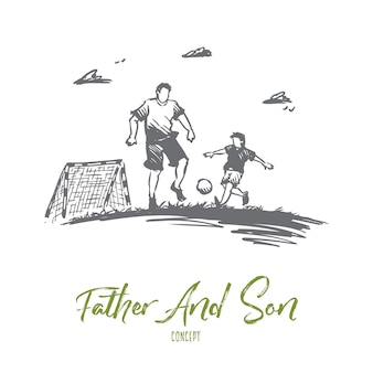 아버지, 축구, 아들, 놀이, 부모 개념. 손으로 그린 된 아빠 아들 개념 스케치와 축구.