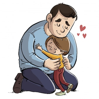 Отец обнимает свою дочь