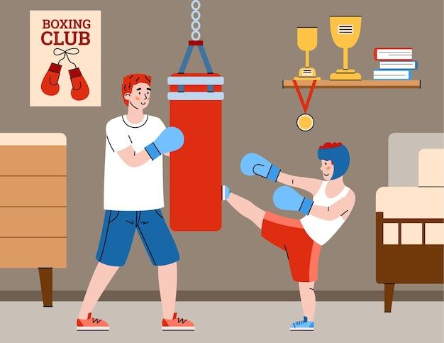 Отец дает своему ребенку урок боксерского боя плоский мультфильм векторные иллюстрации