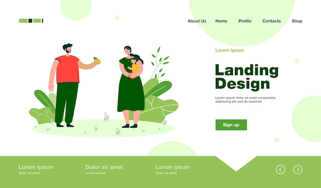 Father giving milk bottle for baby to mother landing page in flat style