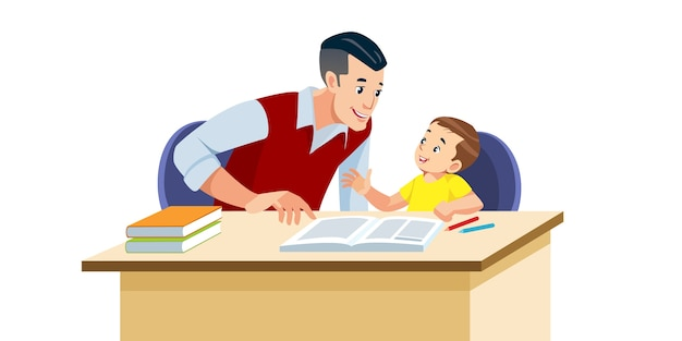 Father helps his son to do homework in school