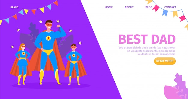 Father hero, happy child with cartoon best dad,  illustration. family congratulation, kid character and parent. greeting