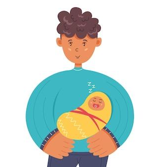 Отец держит на руках спящего ребенка. день семьи, отца и матери. векторная иллюстрация персонажей