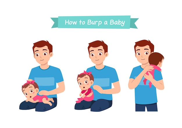 Father holding baby and waiting to burp