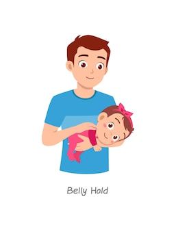 Father holding baby with pose named belly hold