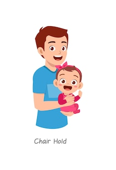 Father holding baby with pose named chair hold