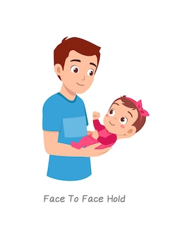 Father holding baby with pose named face to face hold