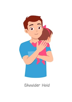 Father holding baby with pose named shoulder hold