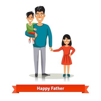 Отец держит руку своего сына и дочери