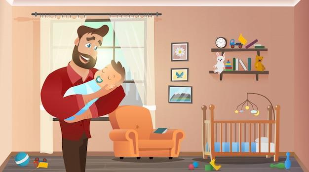 Отец держит сына дома интерьер детской комнаты