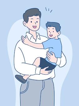 미소, 함께 시간을 보내는 행복, 아버지의 날 개념, 손으로 그린 스타일로 아들을 들고 아버지.