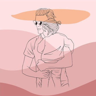 Father hugging his son for fathers day in line art style b