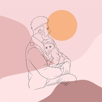 Father hugging his son for fathers day in line art style c