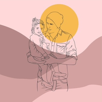 Father hugging his son for fathers day in line art style d