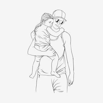 Father hugging his son for fathers day in line art style e