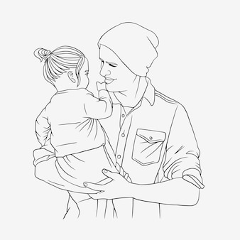 Father hugging his son for fathers day in line art style f
