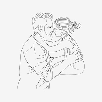 Father hugging his son for fathers day in line art style g
