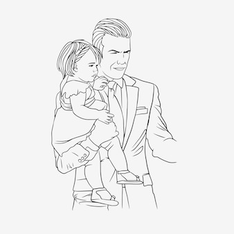 Father hugging his son for fathers day in line art style h