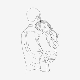 Father hugging his son for fathers day in line art style i