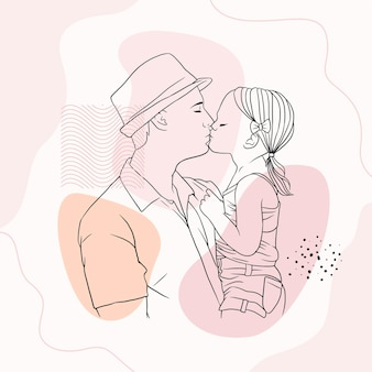 Father hugging his son for fathers day in line art style j