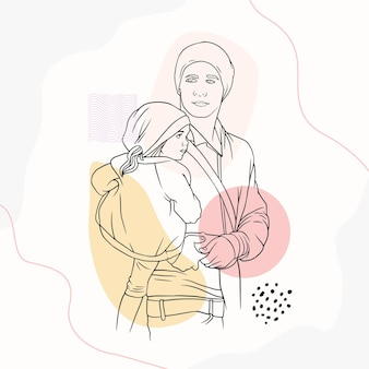 Father hugging his son for fathers day in line art style k