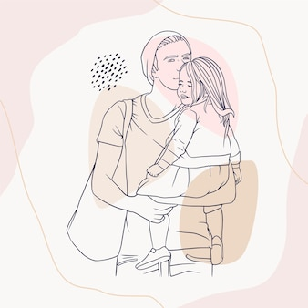 Father hugging his son for fathers day in line art style m