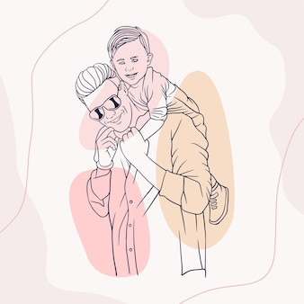 Father hugging his son for fathers day in line art style o