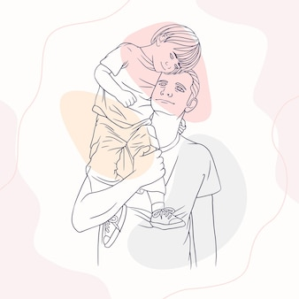 Father hugging his son for fathers day in line art style q