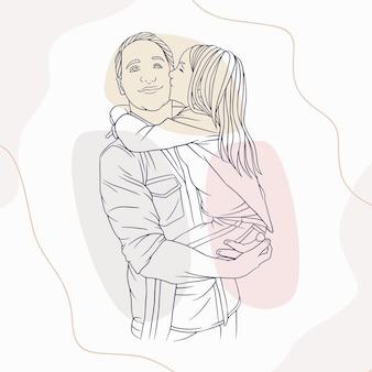 Father hugging his son for fathers day in line art style r