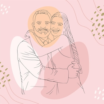 Father hugging his son for fathers day in line art style s