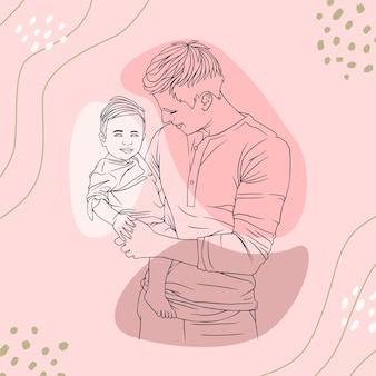 Father hugging his son for fathers day in line art style t