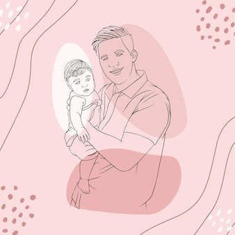 Father hugging his son for fathers day in line art style u