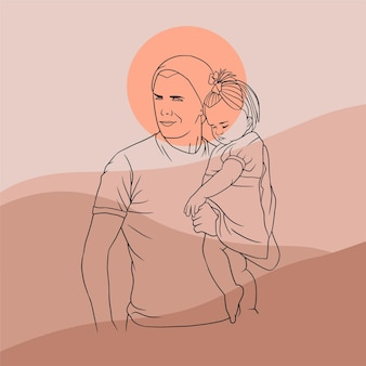 Father hugging his son for fathers day in line art style