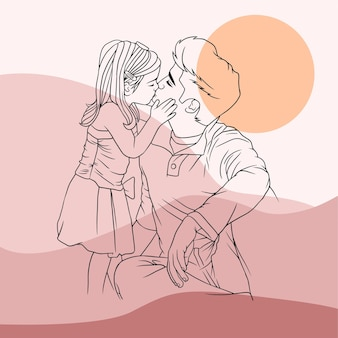 Father hugging his son for fathers day in line art style a